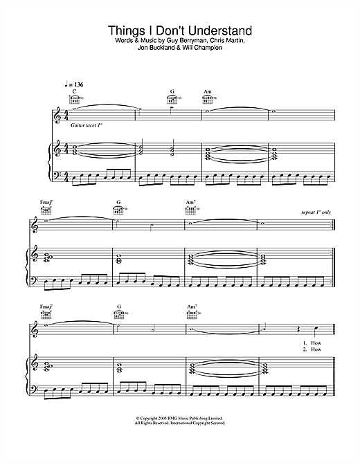 Coldplay Things I Don't Understand sheet music notes and chords. Download Printable PDF.