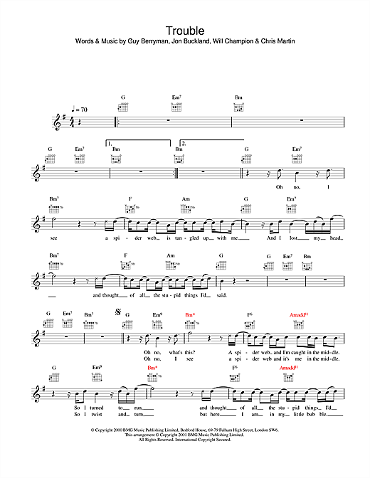 Coldplay Trouble sheet music notes and chords. Download Printable PDF.