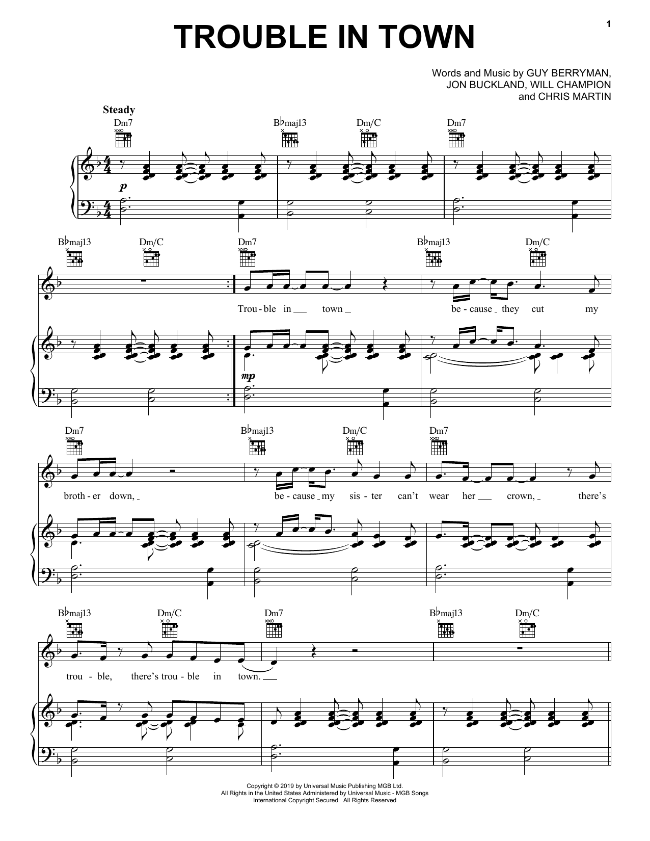 Coldplay Trouble In Town Sheet Music Notes, Chords   Download Printable  Piano, Vocal & Guitar Right Hand Melody PDF Score   SKU 15