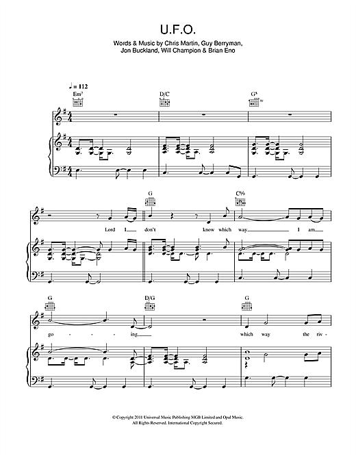 Coldplay U.F.O. sheet music notes and chords. Download Printable PDF.