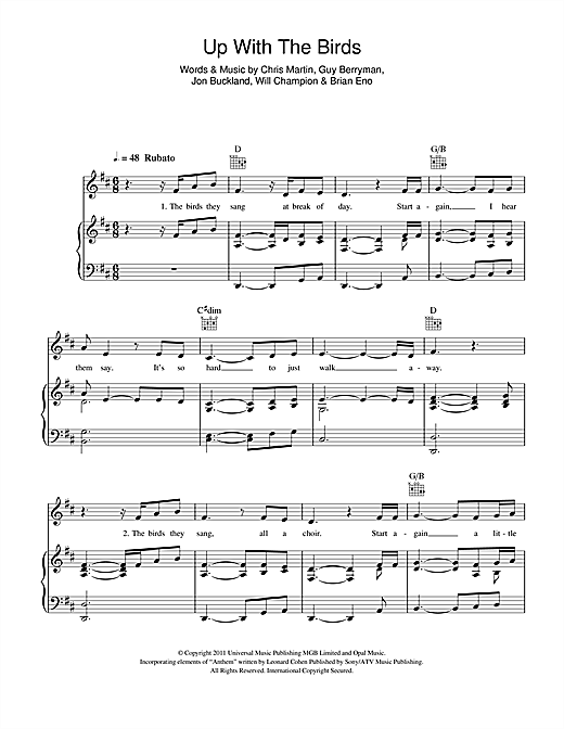 Coldplay Up With The Birds sheet music notes and chords. Download Printable PDF.