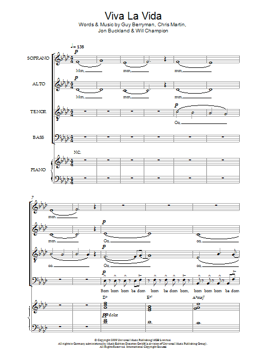 Coldplay Viva La Vida (arr. Christopher Hussey) sheet music notes and chords. Download Printable PDF.