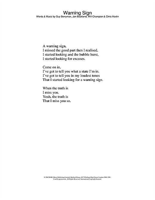 Coldplay Warning Sign sheet music notes and chords. Download Printable PDF.