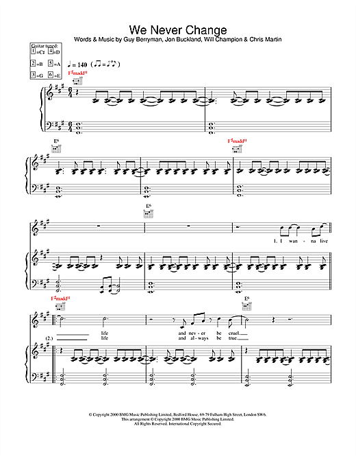 Coldplay We Never Change sheet music notes and chords