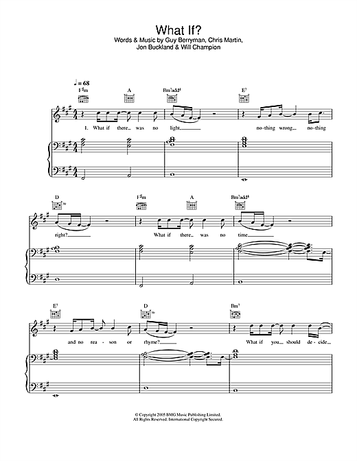 Coldplay What If? sheet music notes and chords. Download Printable PDF.