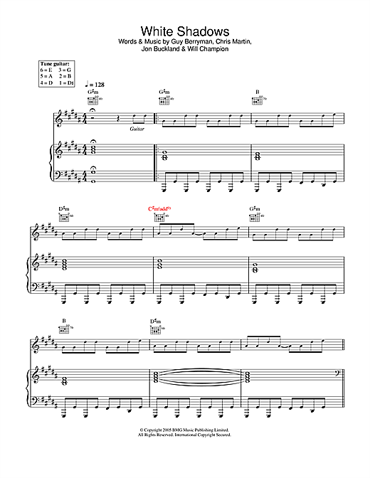 Coldplay White Shadows sheet music notes and chords. Download Printable PDF.