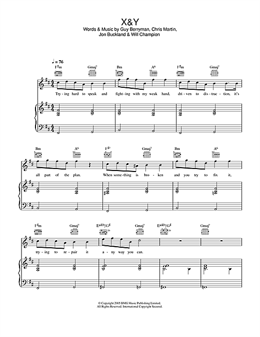 Coldplay X&Y sheet music notes and chords