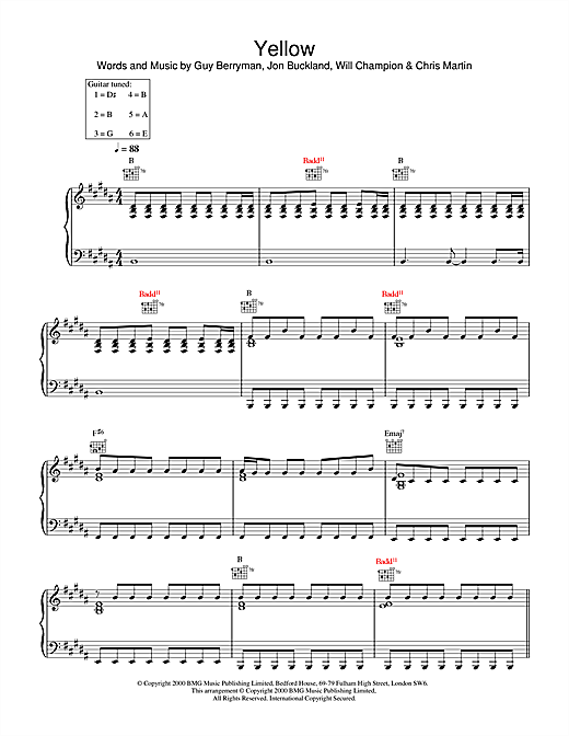 Coldplay Yellow sheet music notes and chords