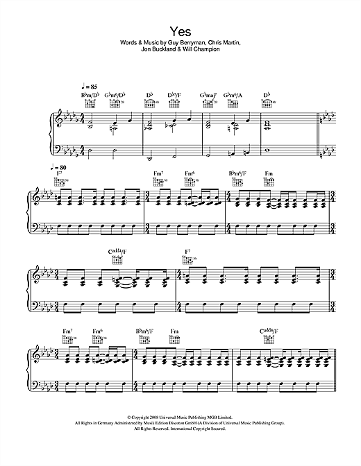 Coldplay Yes sheet music notes and chords