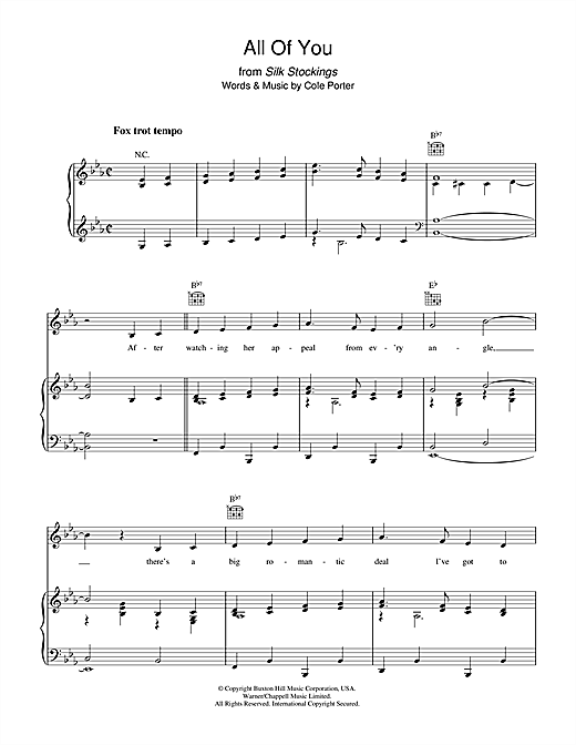 Cole Porter All Of You sheet music notes and chords. Download Printable PDF.