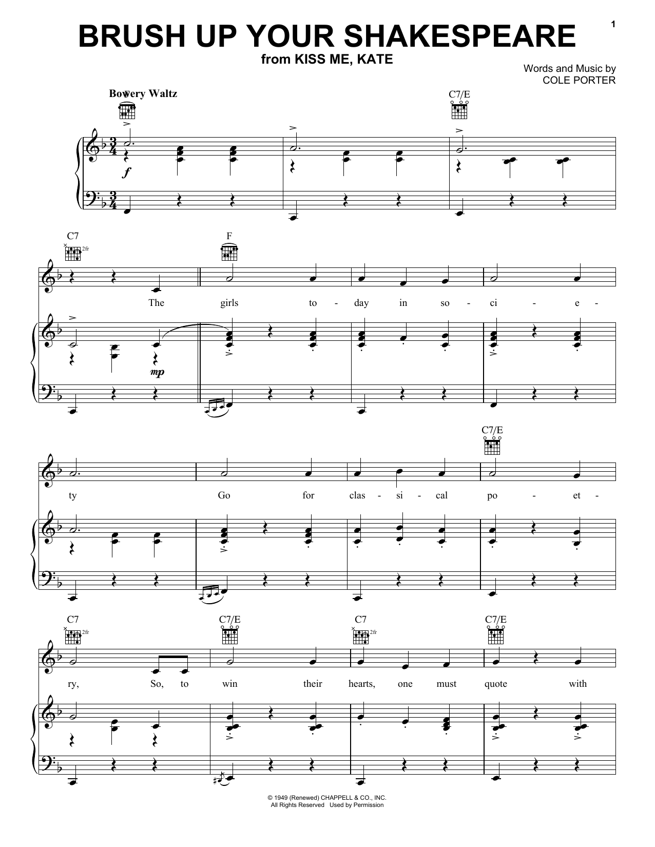 Cole Porter Brush Up Your Shakespeare (from Kiss Me, Kate) sheet music notes and chords