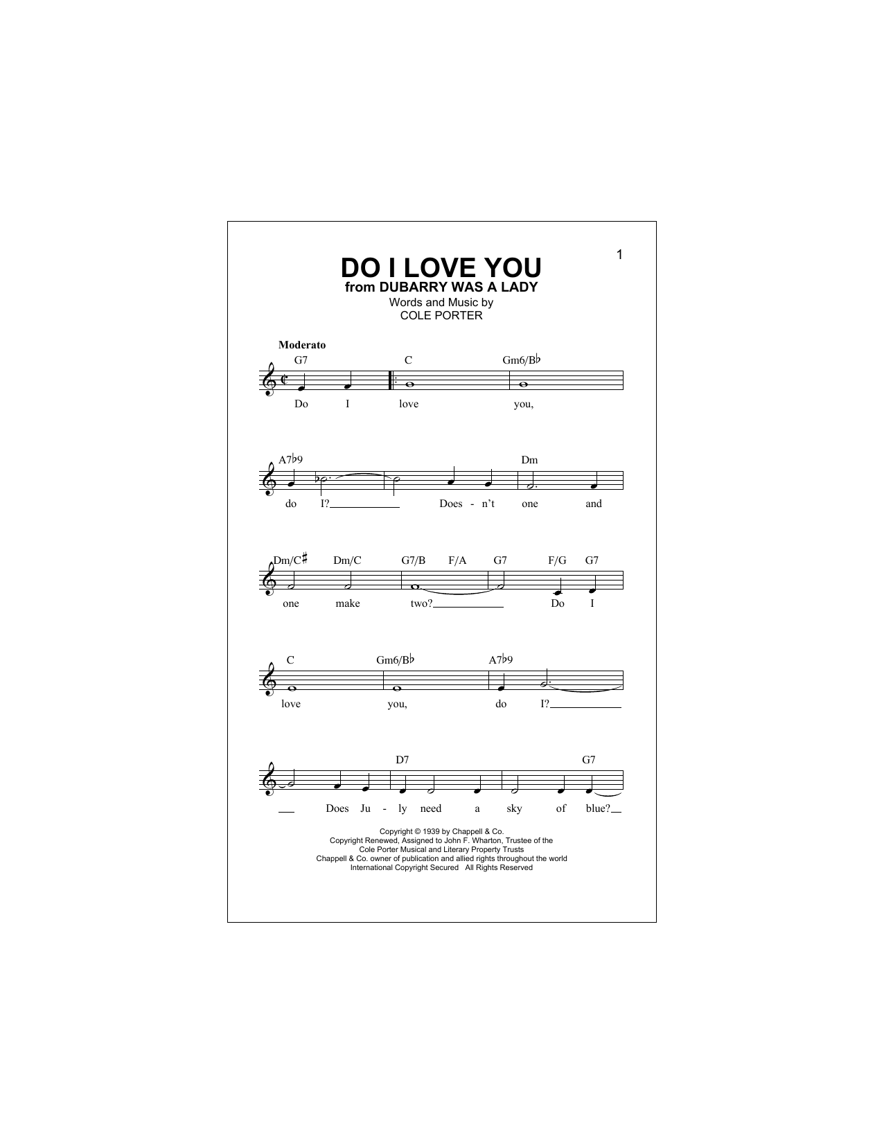 Cole Porter Do I Love You sheet music notes and chords. Download Printable PDF.