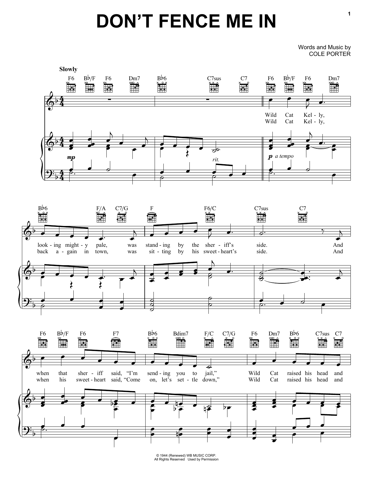Cole Porter Don't Fence Me In sheet music notes and chords. Download Printable PDF.