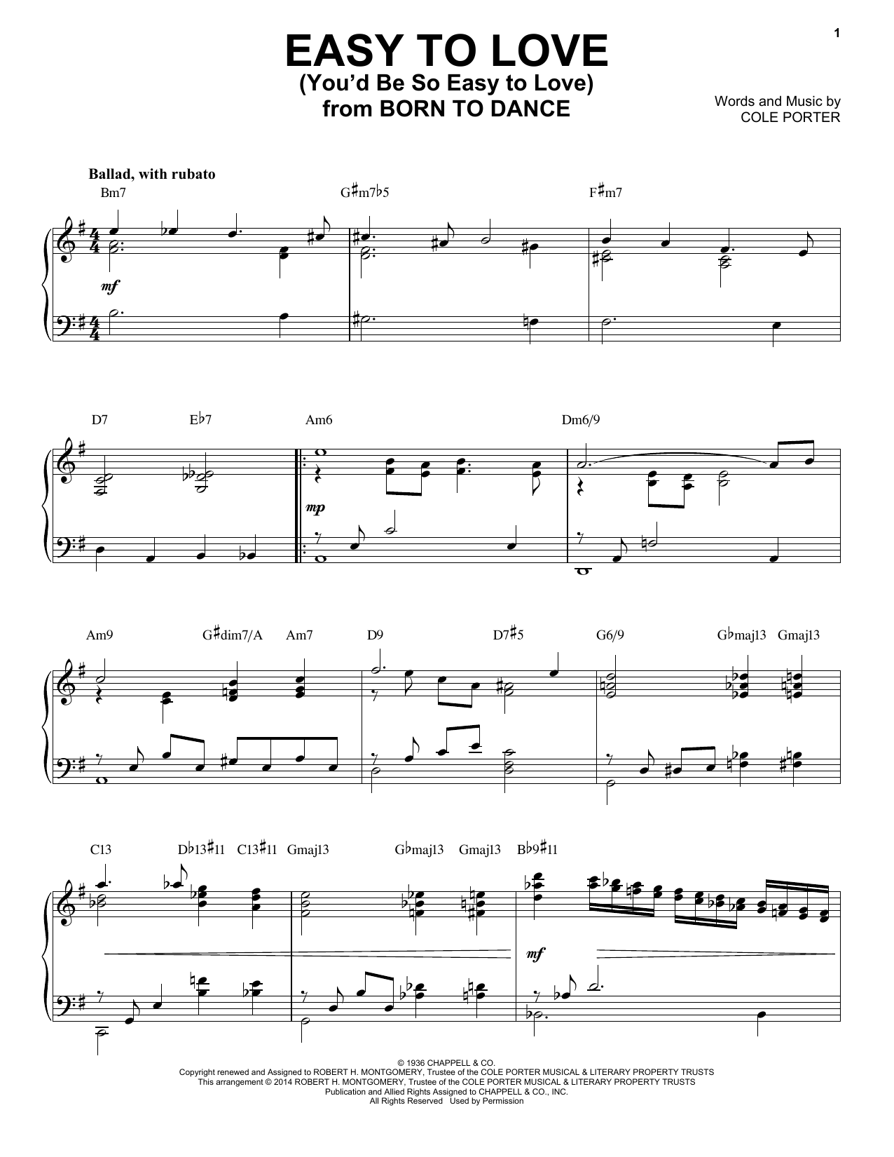 Cole Porter Easy To Love (You'd Be So Easy To Love) [Jazz version] (arr. Brent Edstrom) sheet music notes and chords. Download Printable PDF.