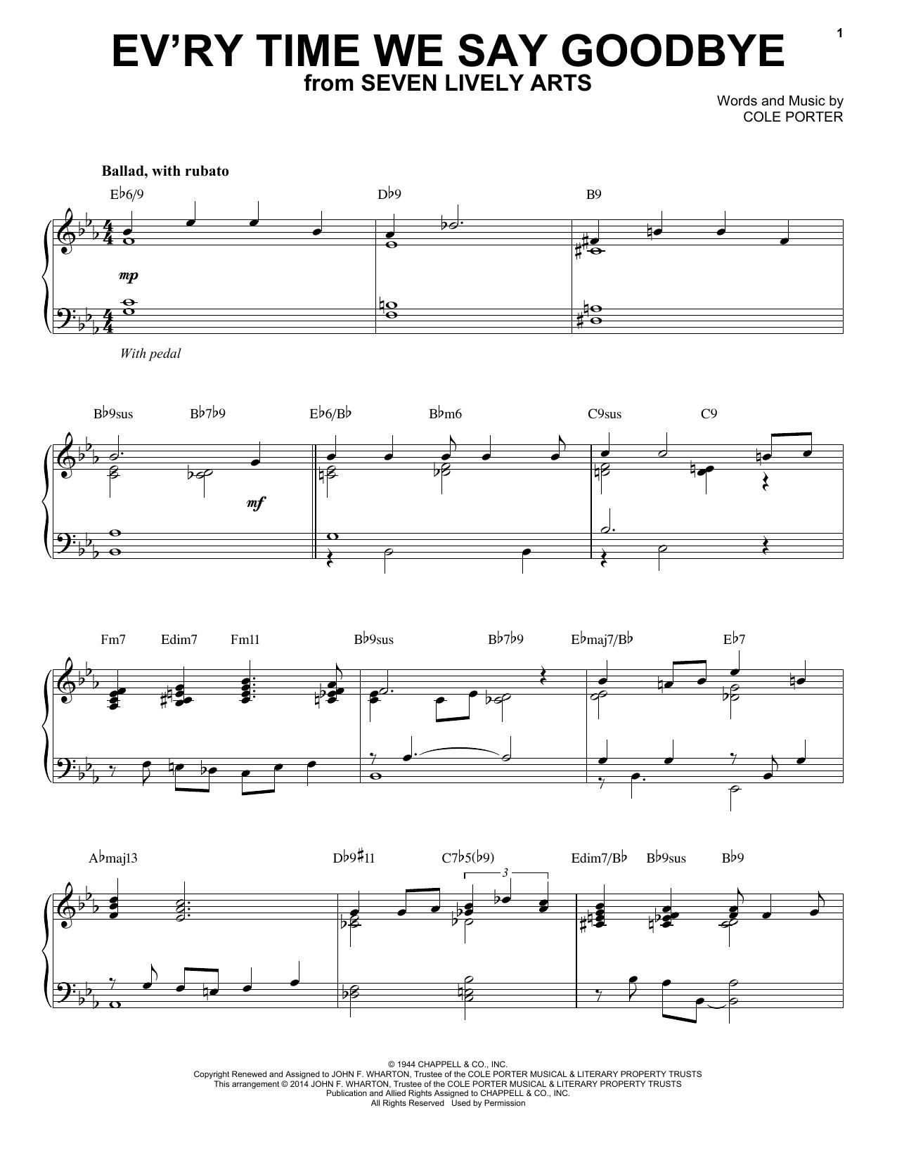Cole Porter Ev'ry Time We Say Goodbye [Jazz version] (arr. Brent Edstrom) sheet music notes and chords. Download Printable PDF.