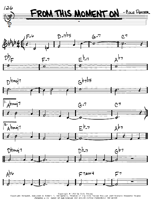 Cole Porter From This Moment On (from Kiss Me, Kate) sheet music notes and chords. Download Printable PDF.