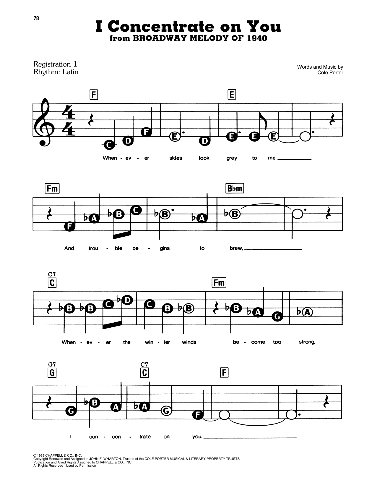 Cole Porter I Concentrate On You (from Broadway Melody Of 1940) sheet music notes and chords. Download Printable PDF.