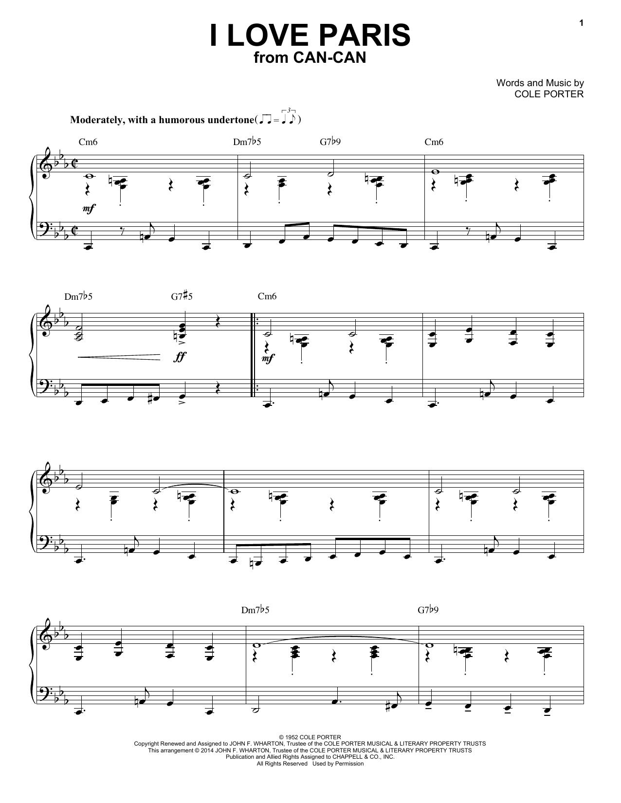 Cole Porter I Love Paris [Jazz version] (arr. Brent Edstrom) sheet music notes and chords. Download Printable PDF.