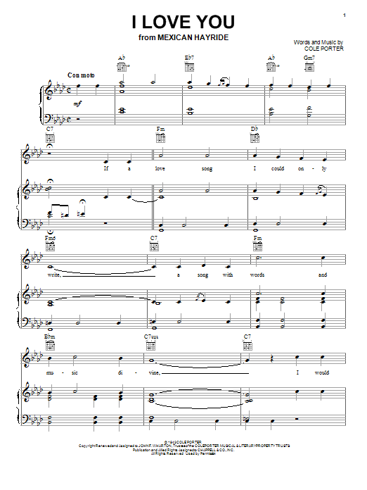 Cole Porter I Love You (from Mexican Hayride) sheet music notes and chords. Download Printable PDF.