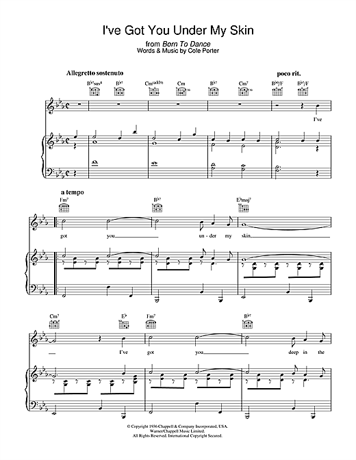 Cole Porter I've Got You Under My Skin sheet music notes and chords. Download Printable PDF.