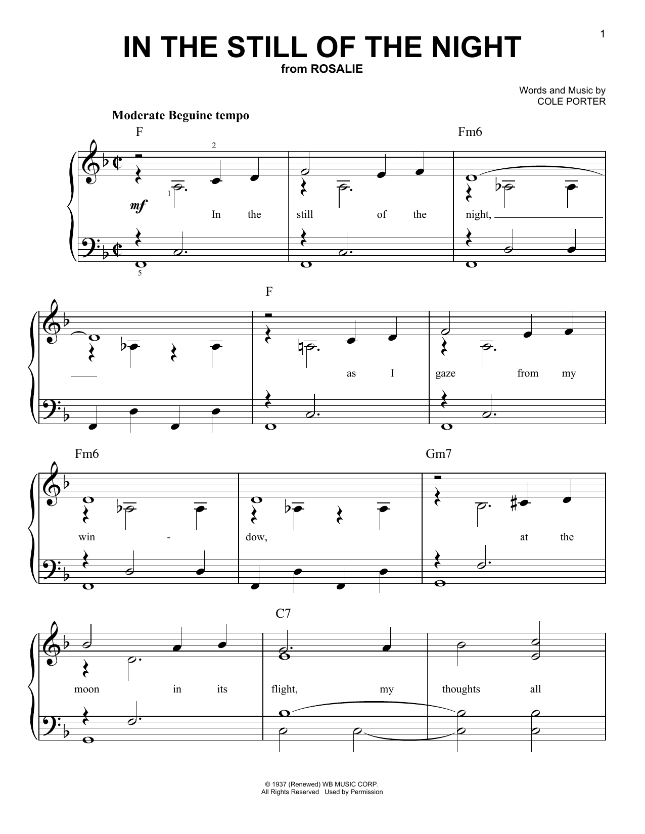Cole Porter In The Still Of The Night sheet music notes and chords. Download Printable PDF.