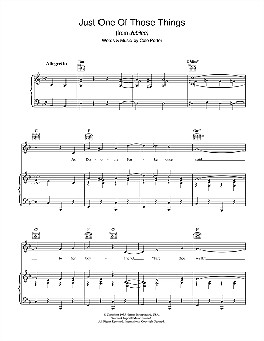 Cole Porter Just One Of Those Things sheet music notes and chords. Download Printable PDF.