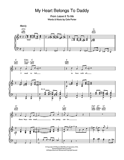 Cole Porter My Heart Belongs To Daddy sheet music notes and chords. Download Printable PDF.