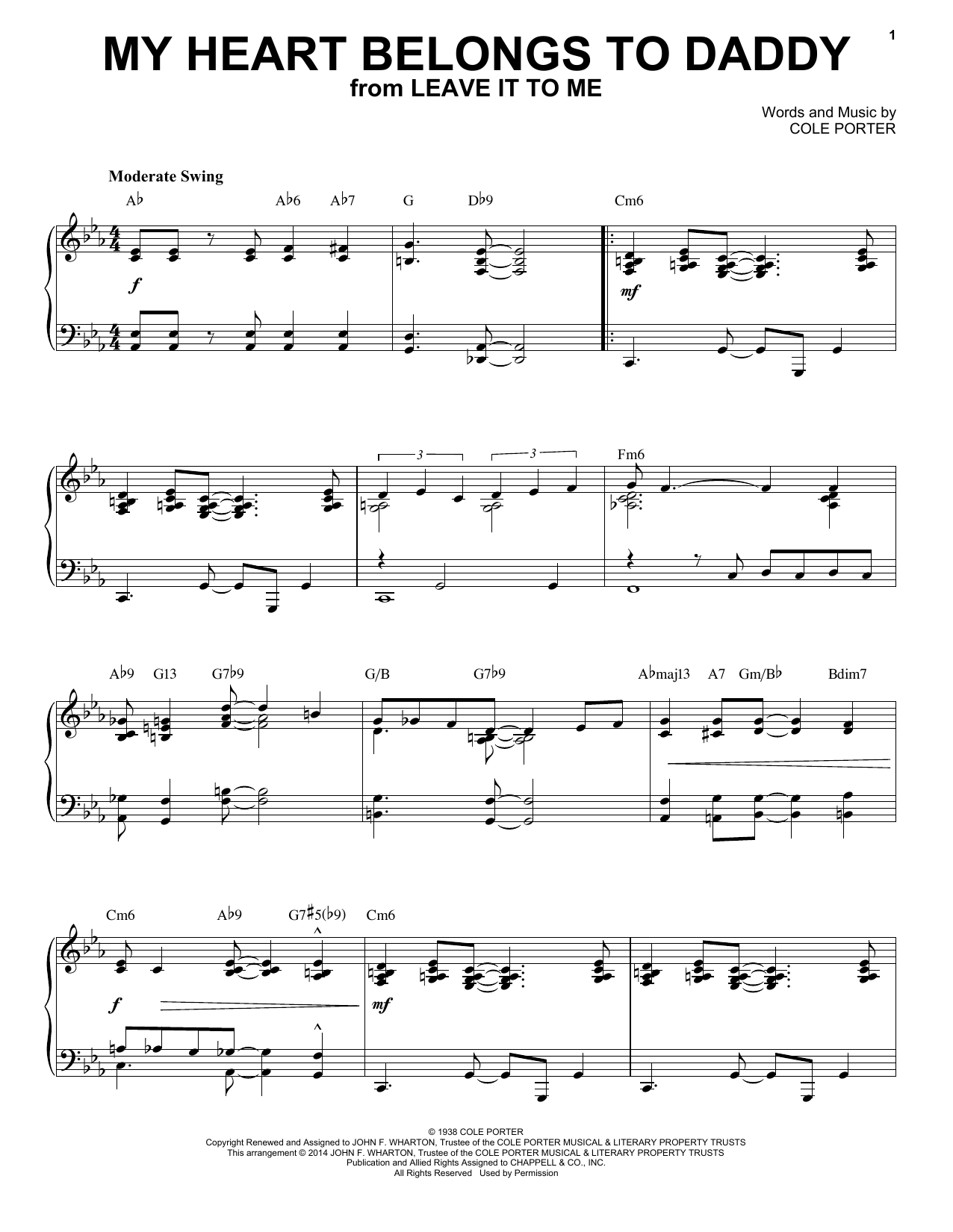 Cole Porter My Heart Belongs To Daddy [Jazz version] (arr. Brent Edstrom) sheet music notes and chords. Download Printable PDF.