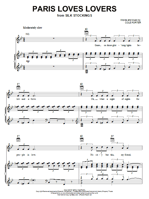 Cole Porter Paris Loves Lovers sheet music notes and chords. Download Printable PDF.