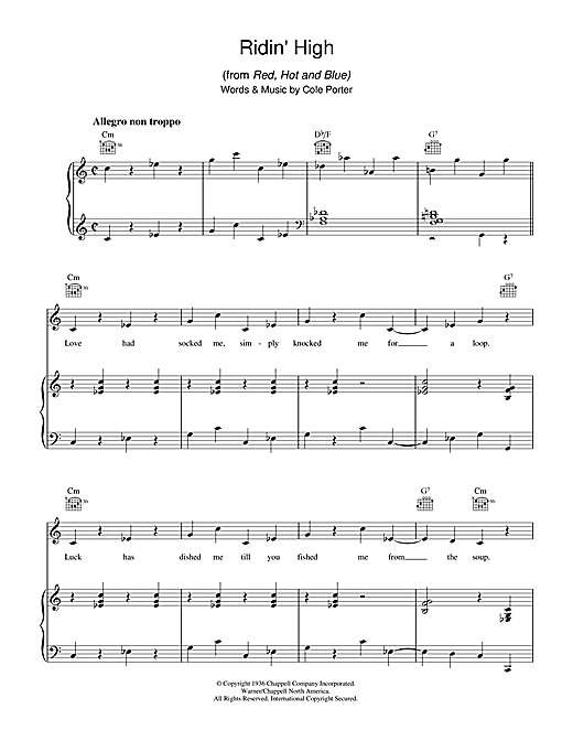 Cole Porter Ridin' High sheet music notes and chords. Download Printable PDF.