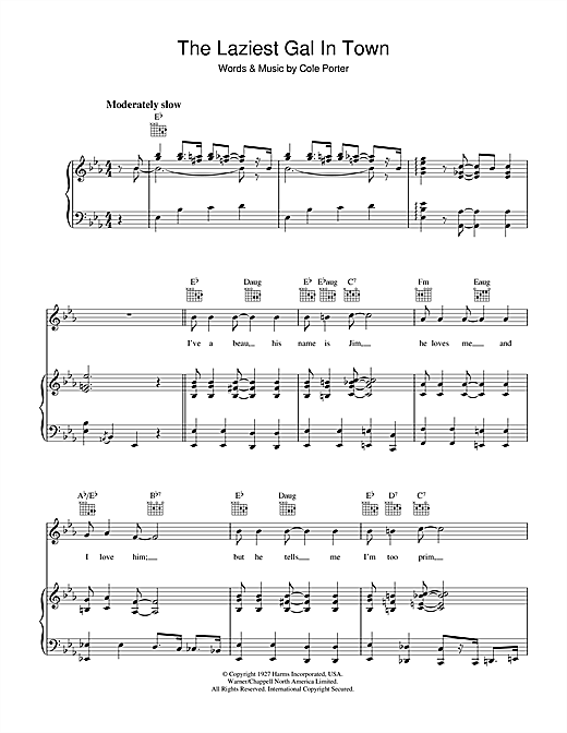 Cole Porter The Laziest Gal In Town sheet music notes and chords. Download Printable PDF.