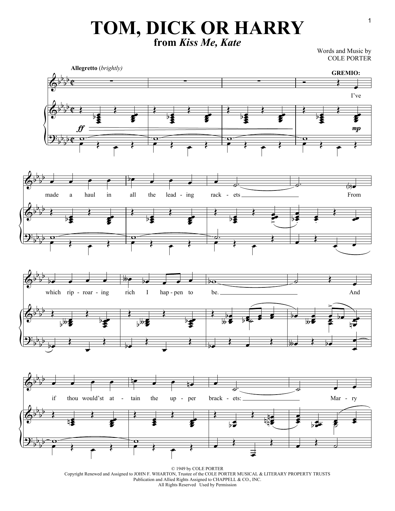 Cole Porter Tom, Dick Or Harry (from Kiss Me, Kate) sheet music notes and chords. Download Printable PDF.