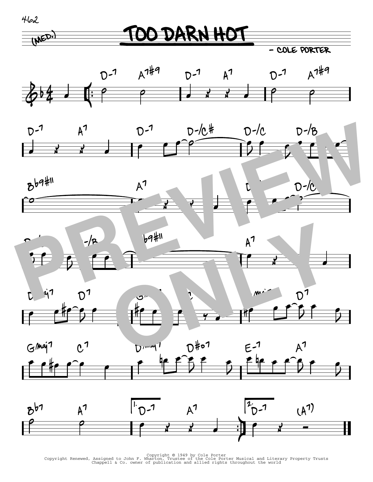 Cole Porter Too Darn Hot sheet music notes and chords. Download Printable PDF.