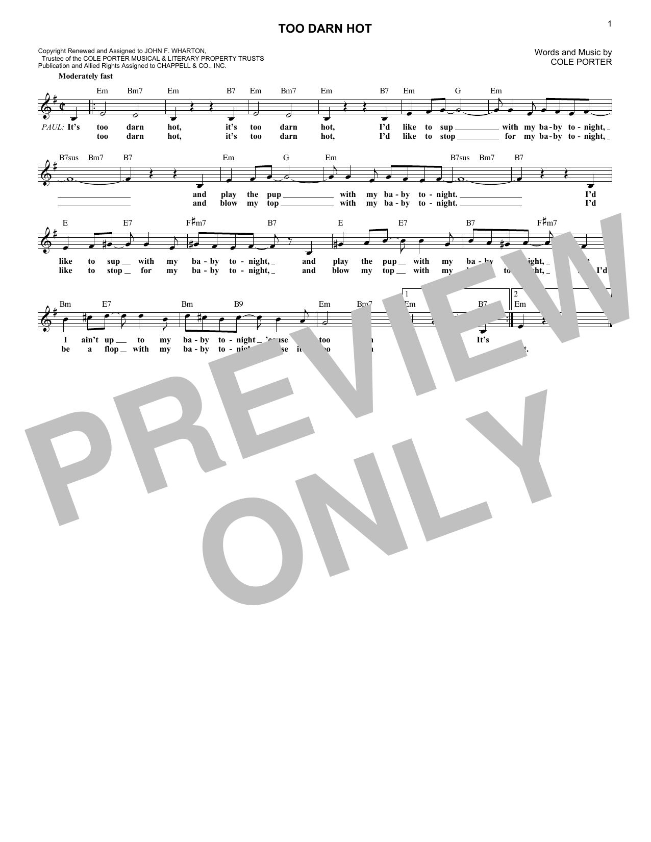 Cole Porter Too Darn Hot (from Kiss Me, Kate) sheet music notes and chords. Download Printable PDF.