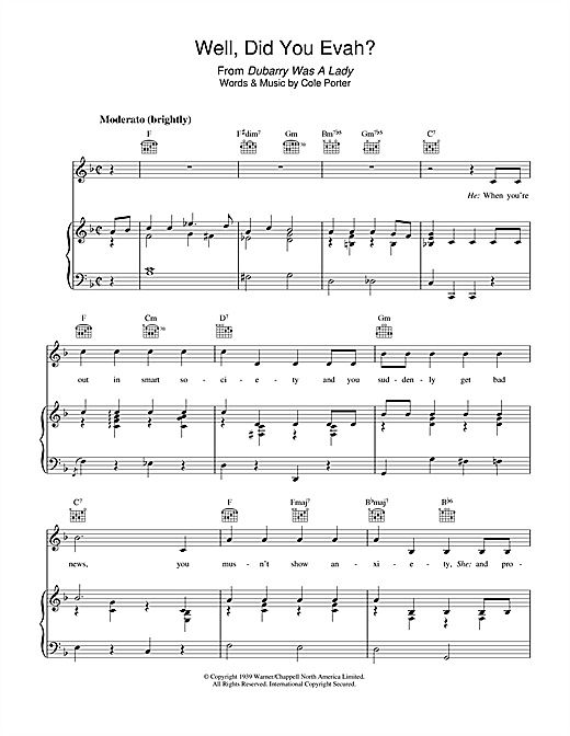 Cole Porter Well, Did You Evah sheet music notes and chords. Download Printable PDF.