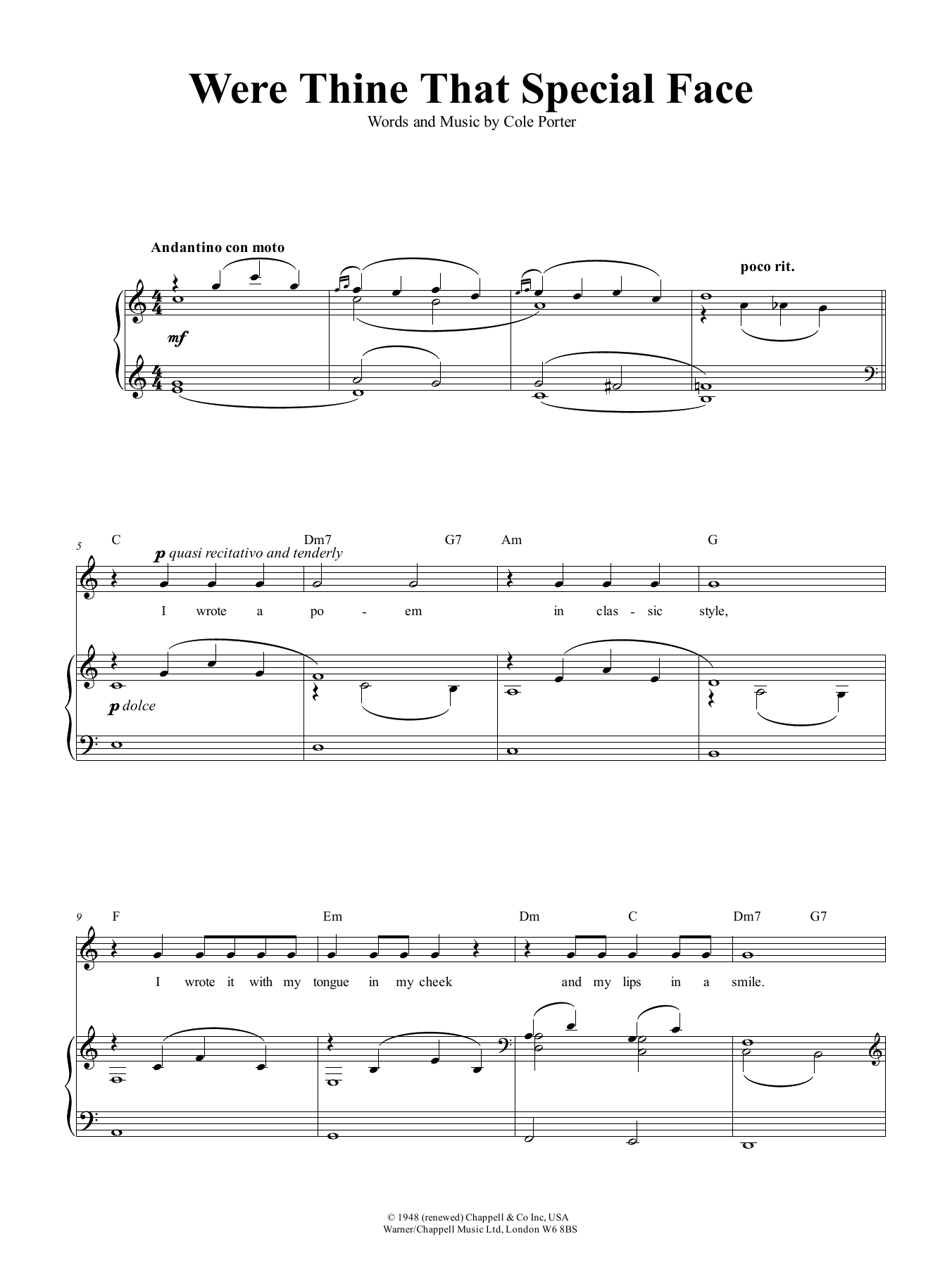 Cole Porter Were Thine That Special Face sheet music notes and chords. Download Printable PDF.