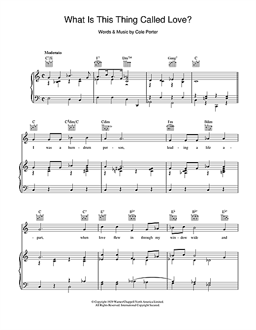 Cole Porter What Is This Thing Called Love? sheet music notes and chords. Download Printable PDF.