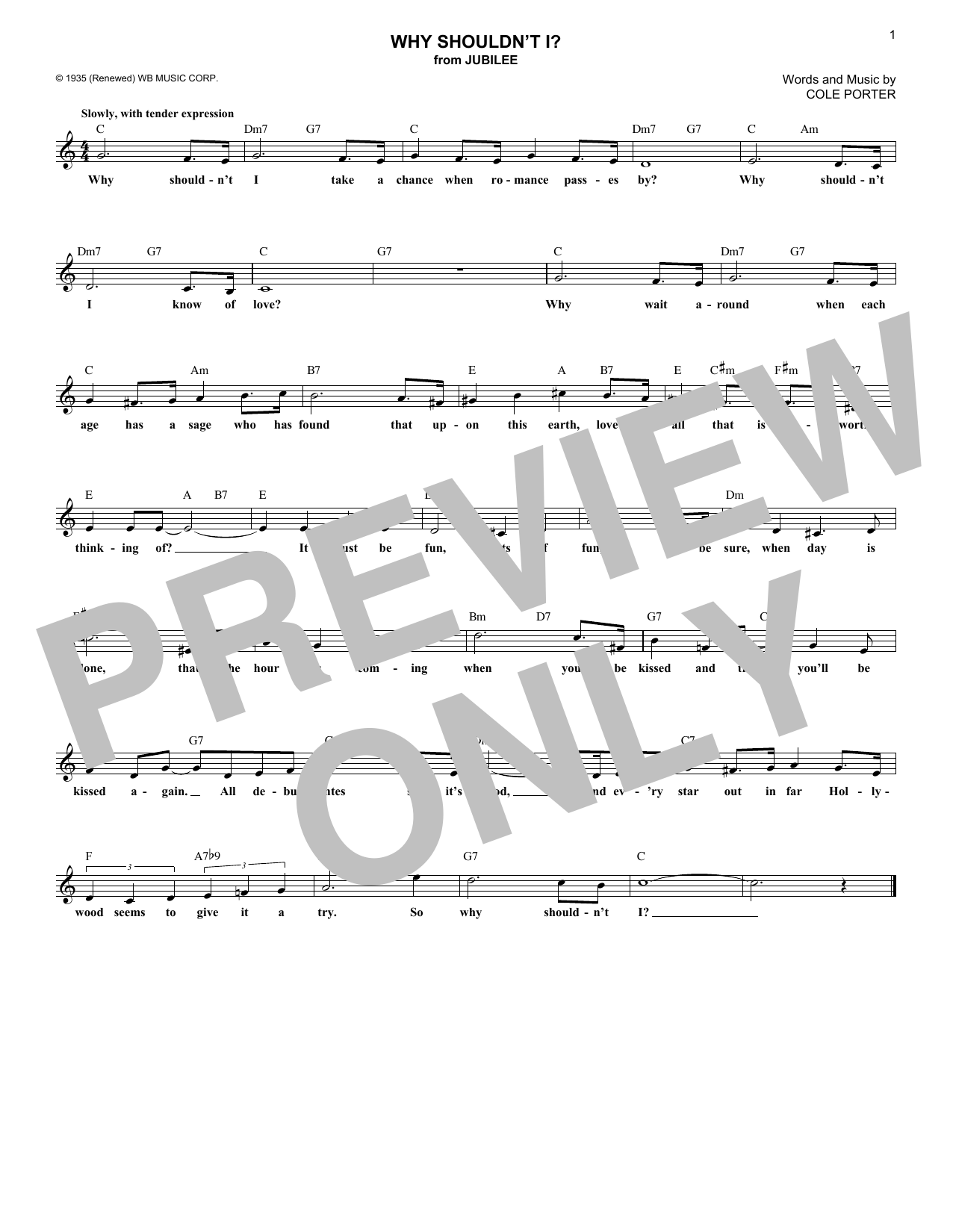 Cole Porter Why Shouldn't I? sheet music notes and chords. Download Printable PDF.