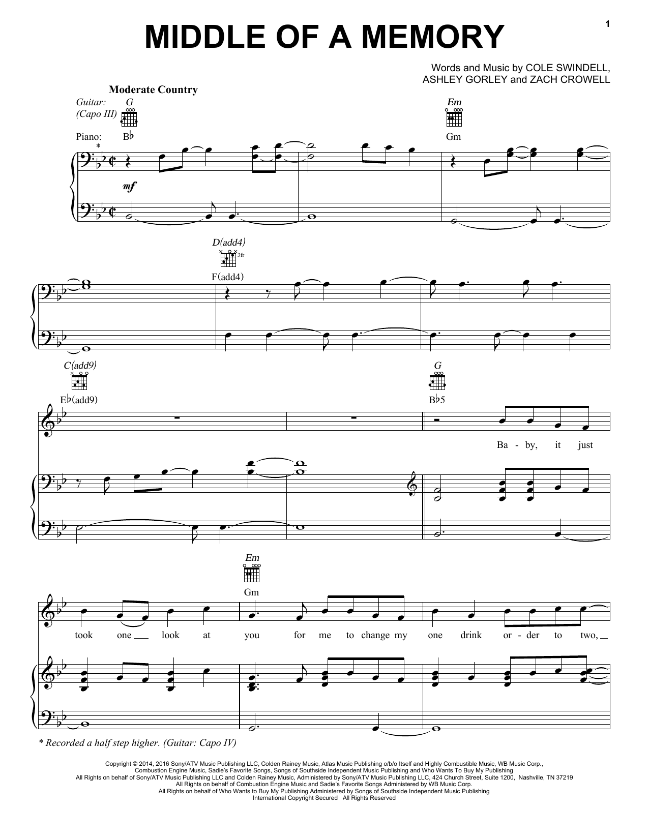 Cole Swindell Middle Of A Memory sheet music notes and chords. Download Printable PDF.