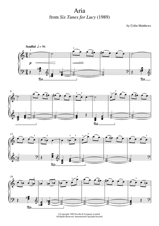 Colin Matthews Aria (From Six Tunes For Lucy) sheet music notes and chords