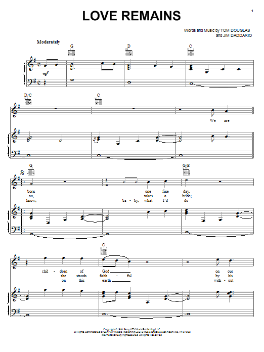 Collin Raye Love Remains sheet music notes and chords. Download Printable PDF.