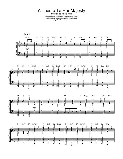 Colonel Philip Hills A Tribute To Her Majesty sheet music notes and chords