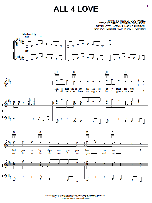 Color Me Badd All 4 Love sheet music notes and chords. Download Printable PDF.