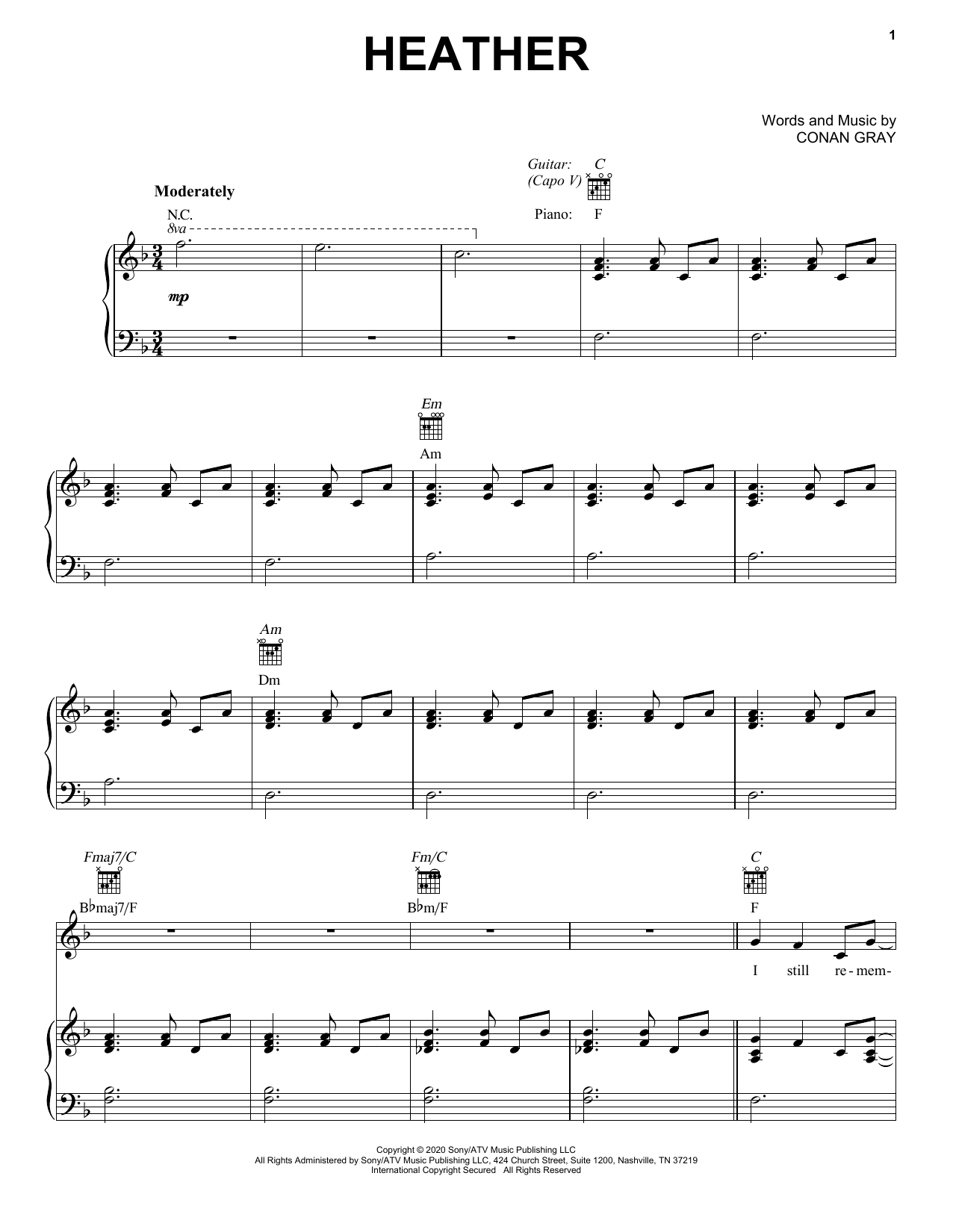 Conan Gray Heather sheet music notes and chords. Download Printable PDF.