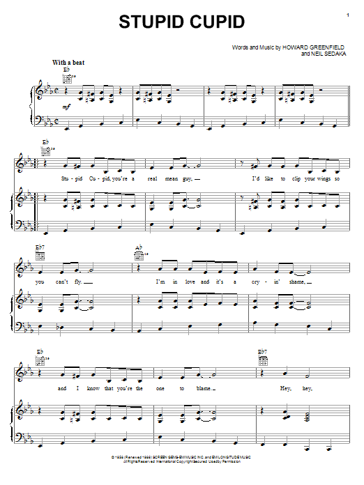 Connie Francis Stupid Cupid sheet music notes and chords