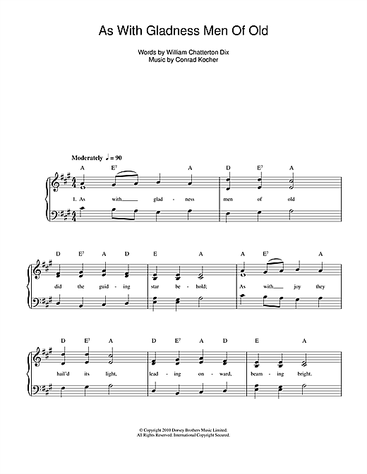 Conrad Kocher As With Gladness Men Of Old sheet music notes and chords. Download Printable PDF.