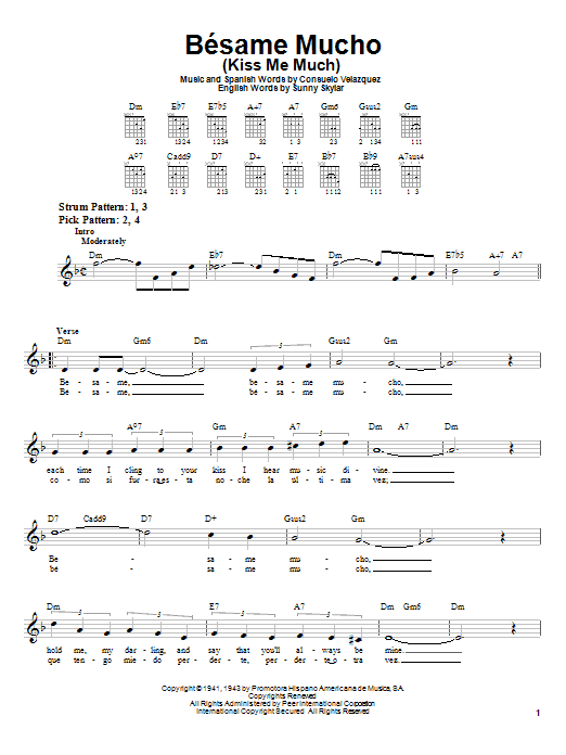 Consuelo Velazquez Besame Mucho (Kiss Me Much) sheet music notes and chords