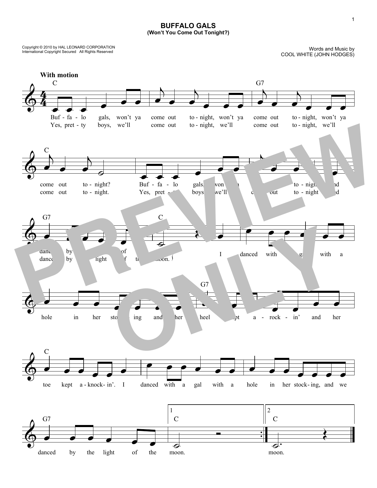 Cool White (John Hodges) Buffalo Gals (Won't You Come Out Tonight?) sheet music notes and chords. Download Printable PDF.