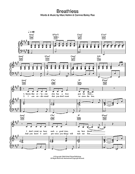 Corinne Bailey Rae Breathless sheet music notes and chords. Download Printable PDF.