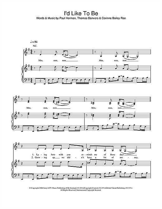 Corinne Bailey Rae I'd Like To sheet music notes and chords